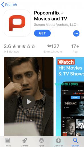 Popcornflix: Click on Get button