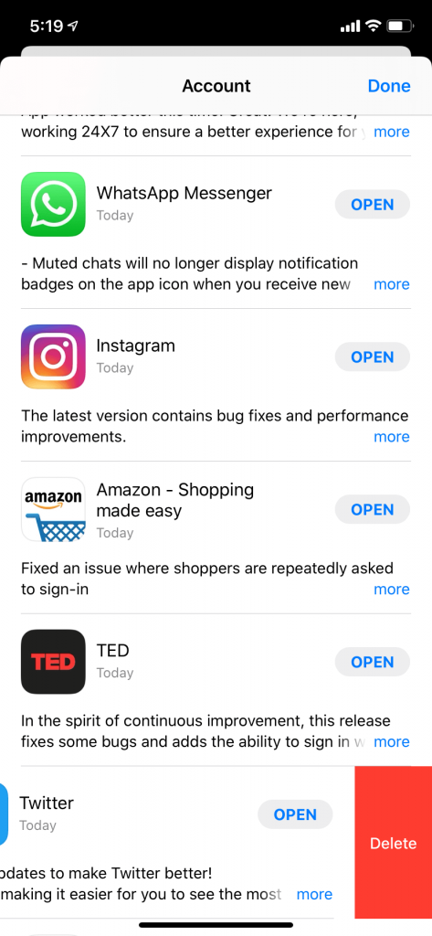 Delete iPhone app using App store