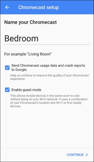 Provide a Name for Chromecast