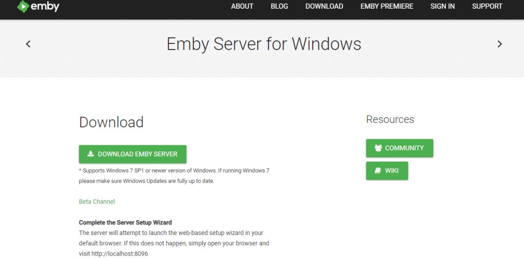 Tap Download Emby Server