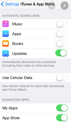 Tap on Updates to Turn Off