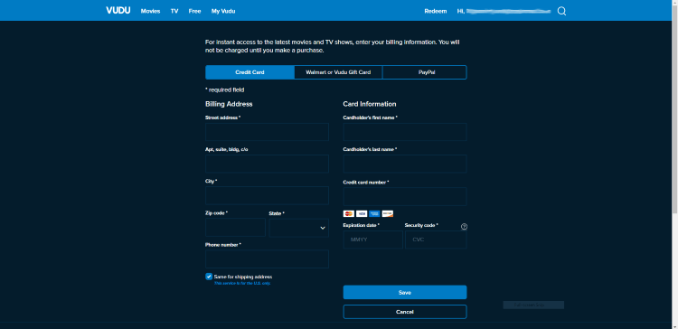 Sign Up for Vudu Account