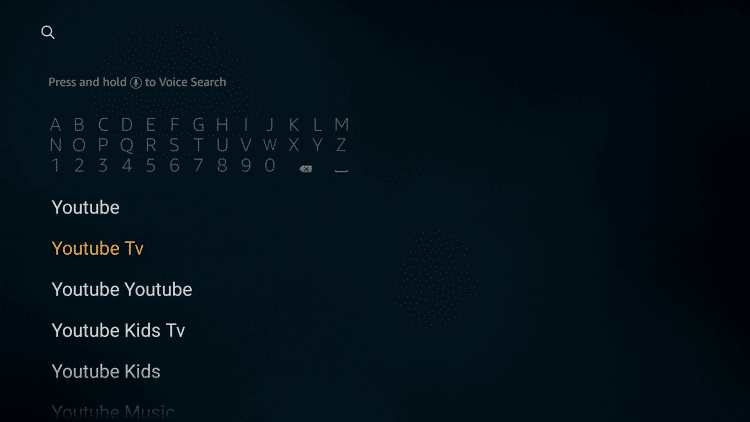 Search for Youtube TV