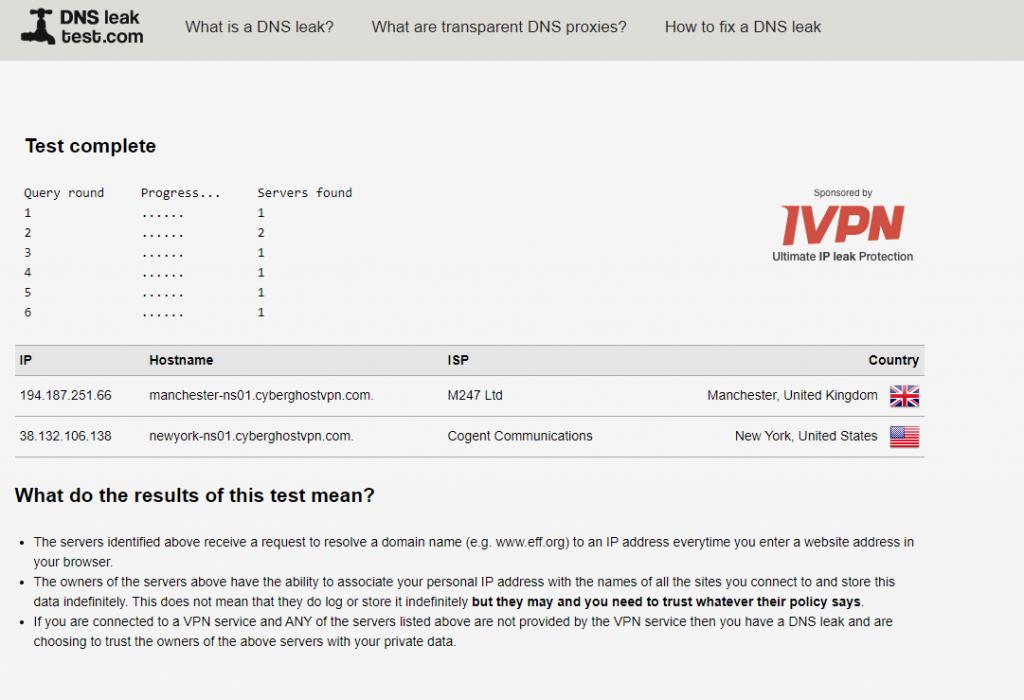 CyberGhost VPN DNS Leak Test