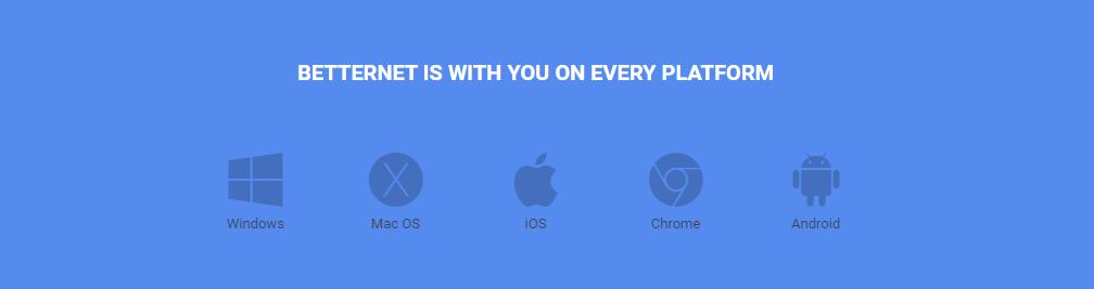 Betternet VPN supported platforms