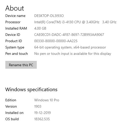 Check the Windows version