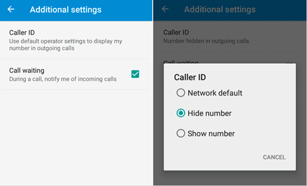 Click on Hide Number option -How to Make Your Number Private on Android