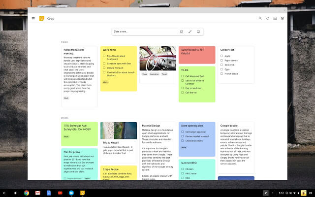 Google Keep - Best Text Editor for Chromebook