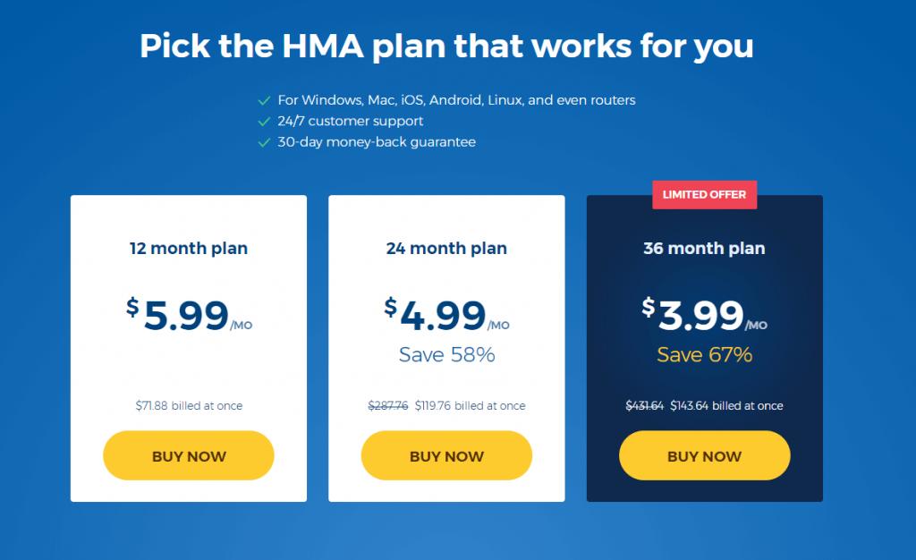 HMA VPN Price