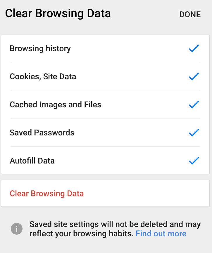 Hit Clear browsing data: Clear Cache Chrome