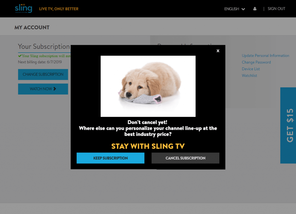 Cancel Sling TV on Roku