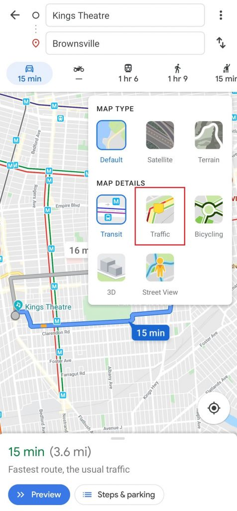 Check Traffic to home / Work