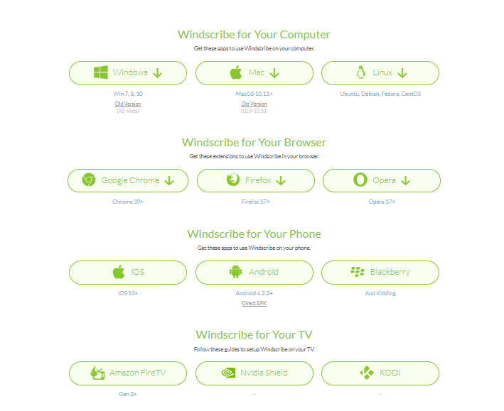 Windscribe VPN supported devices