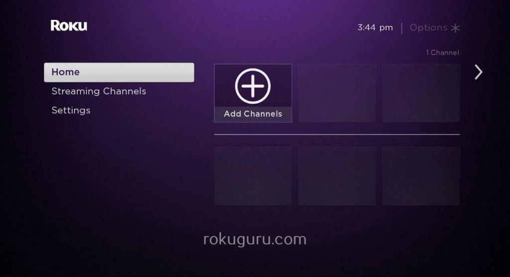 Roku home screen