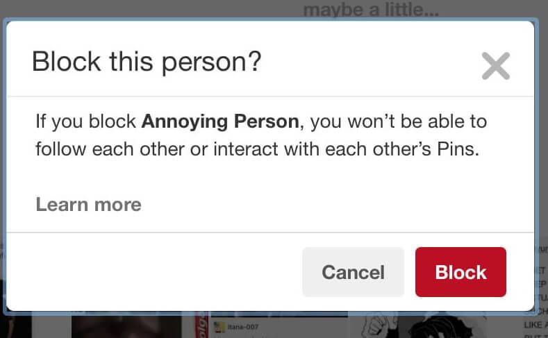 Block Someone on Pinterest