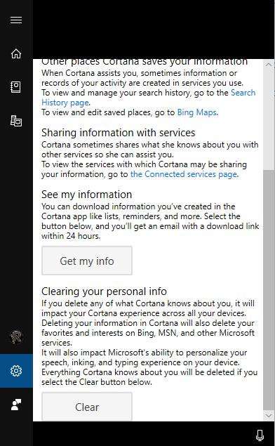 stop Cortana from saving search history