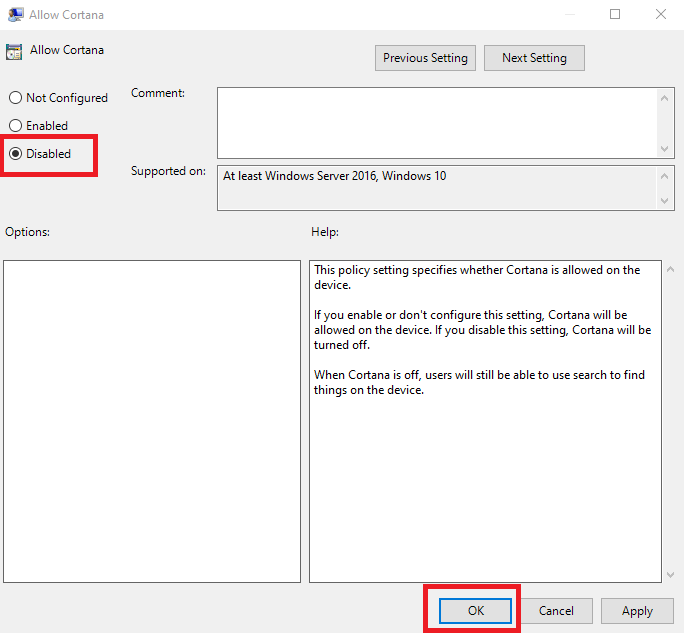 turn off Cortana permanently