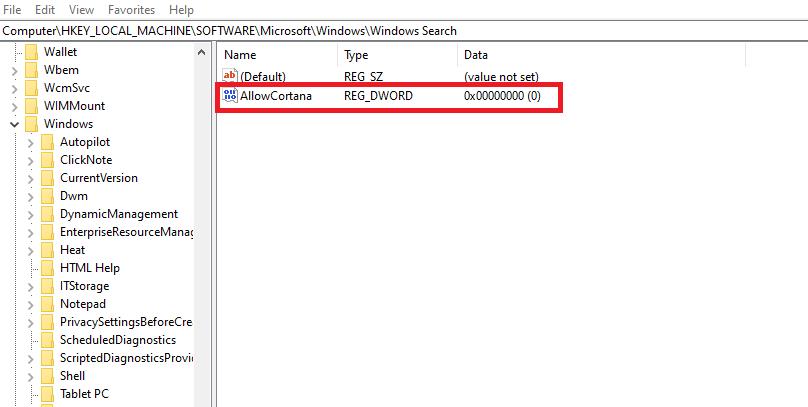 Disable Cortana in Windows 10
