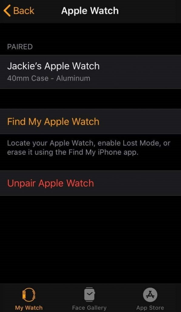 Unpair Apple Watch with iPhone