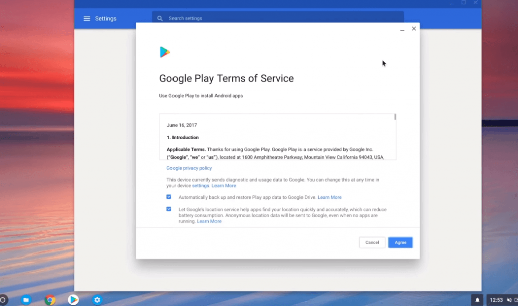 Agree to Terms and Conditions - Windows Apps on Chromebook