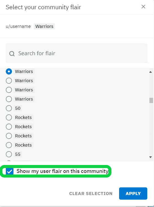 Check in to show flair and Apply changes