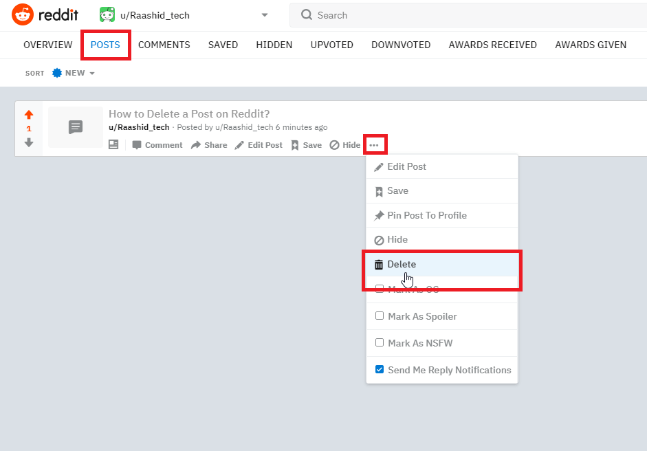 Delete Reddit Post on PC or Mac
