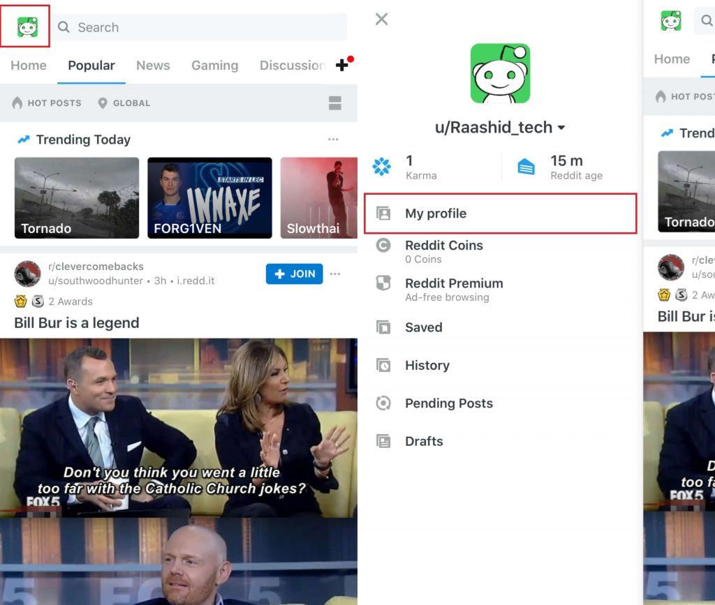 Delete Reddit Post on iPhone/iPad