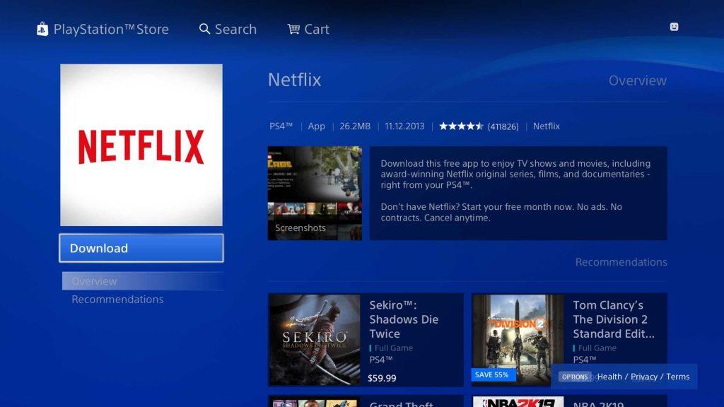Download Netflix on Playstation