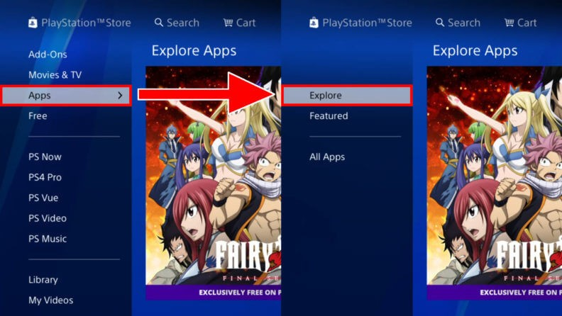 Choose Apps and then click Explore
