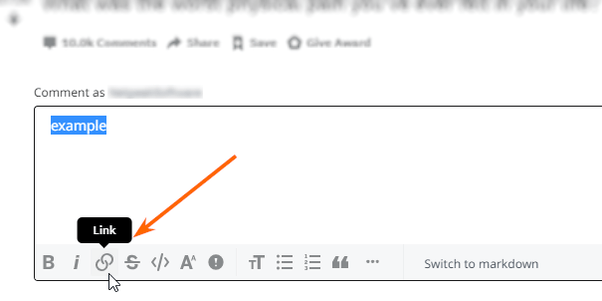 Press the Hyperlink icon