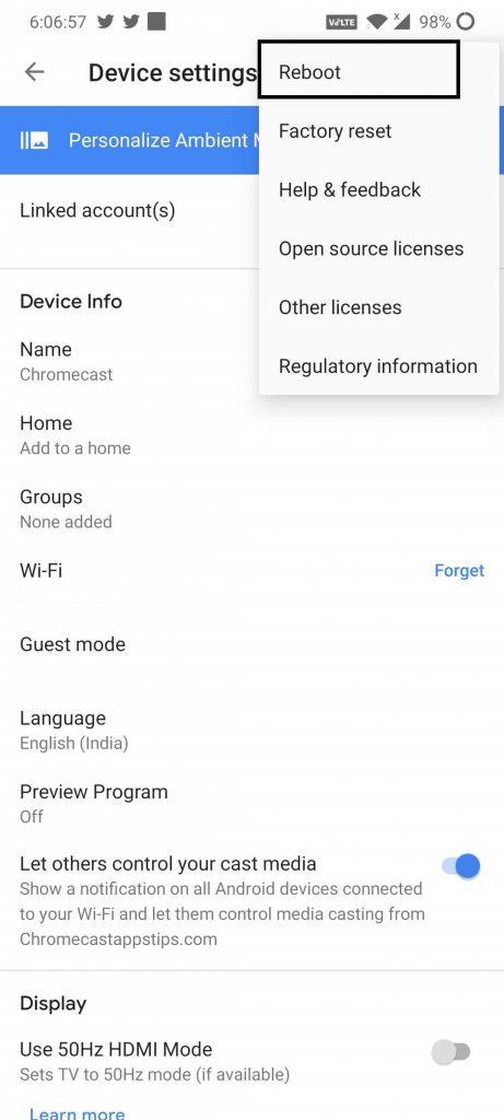 Reboot or Restart Chromecast