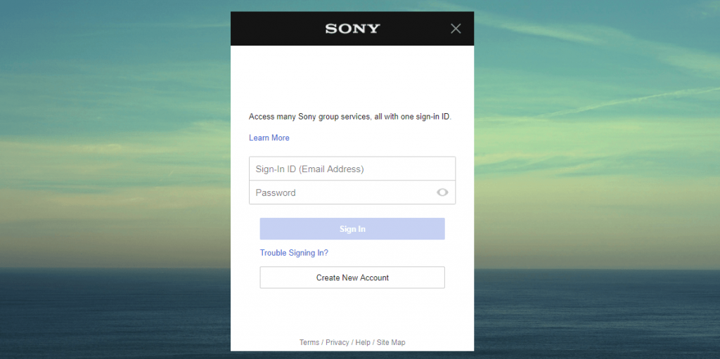 Register to Sony Entertainment Network