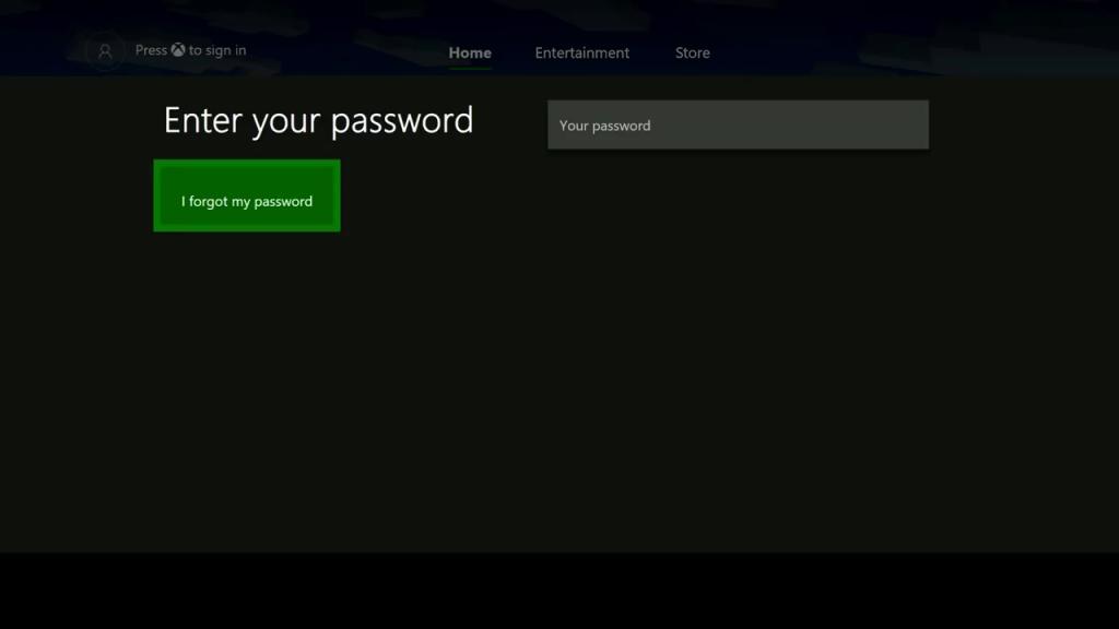 Reset Password on Xbox