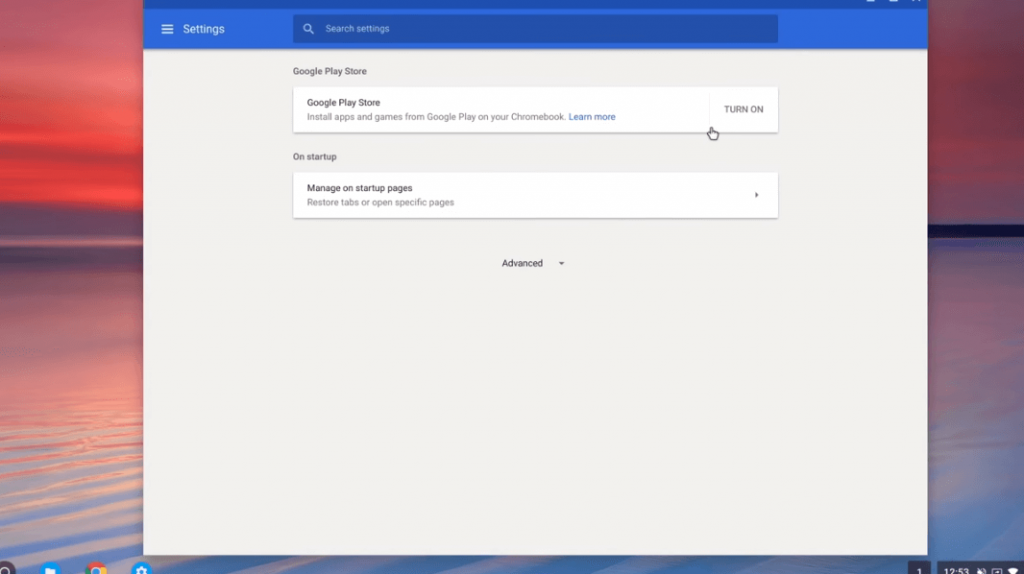 Tap on Turn On - Windows Apps on Chromebook