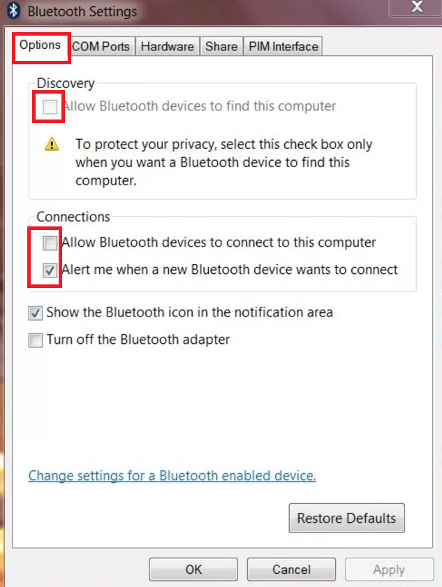 Turn on Bluetooth on Windows 7