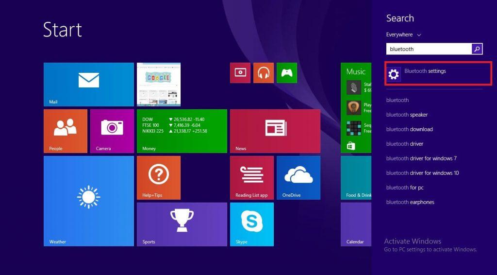Bluetooth settings -> Turn on Bluetooth on Windows 8