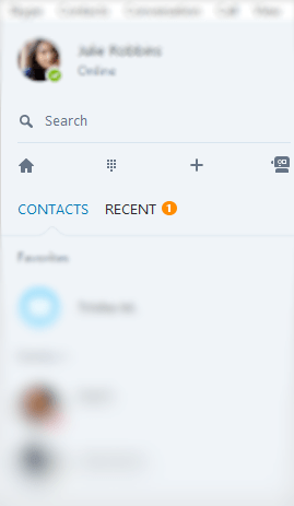 Use Search bar to find Skype user