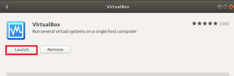 launch virtualBox