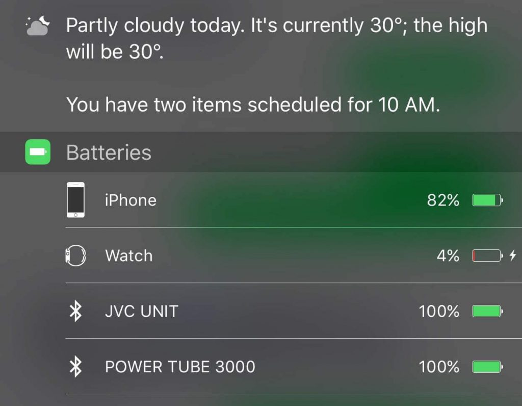 WatchOS Battery on iPhone