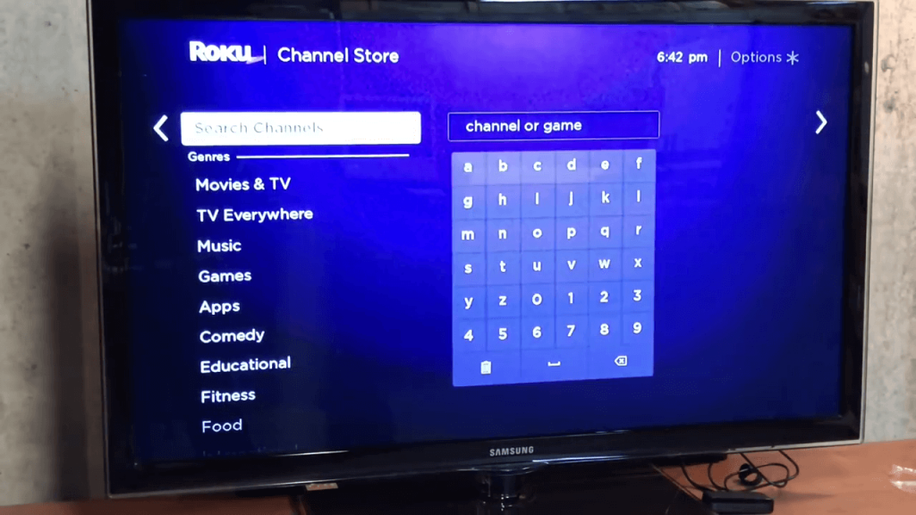 Search for channels on the store