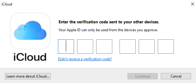 Enter verification code and click Continue