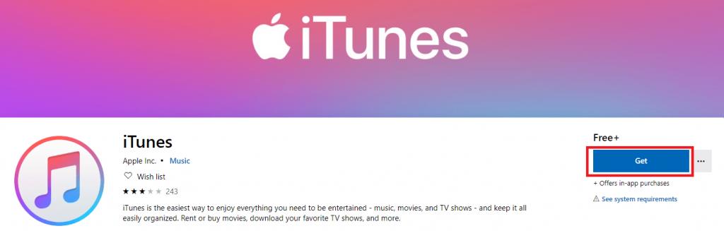 iTunes on Microsoft store