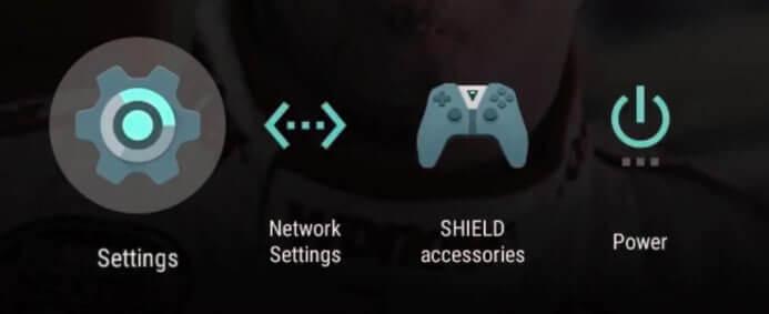 Select settings on Nvidia shield