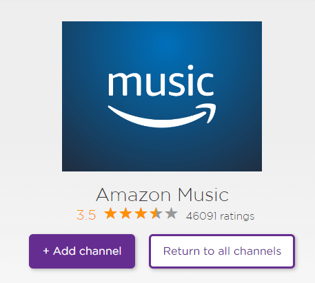 Click Add Channel to get Amazon Music on Roku