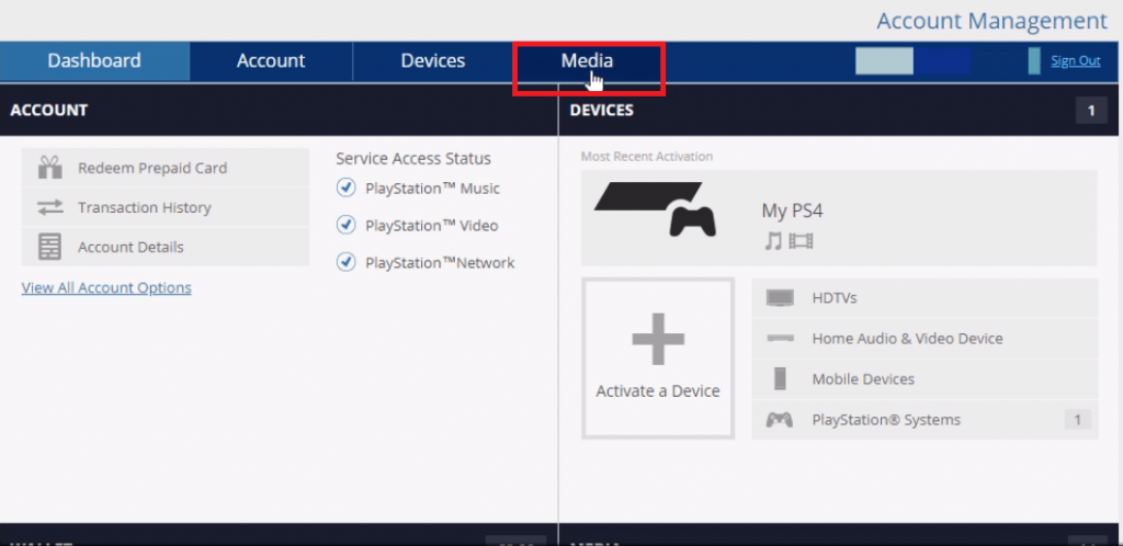 Select Media tab
