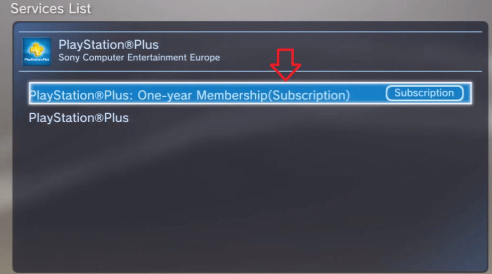 Select your PlayStation Plus subscription