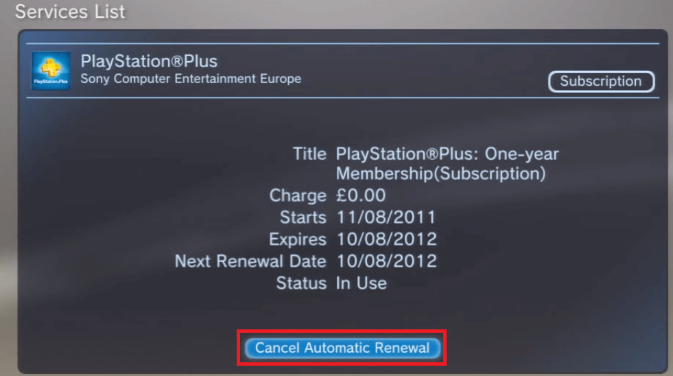 Cancel PlayStation Plus Subscription on PS3