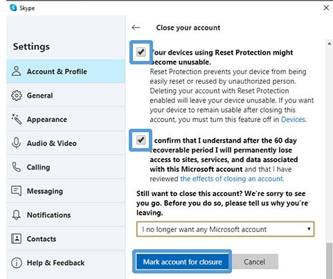 Choose to Close Skype Account - How to Delete Skype Account