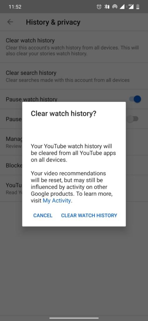 Delete Watch History on Youtube