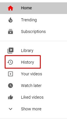 Click on History tab